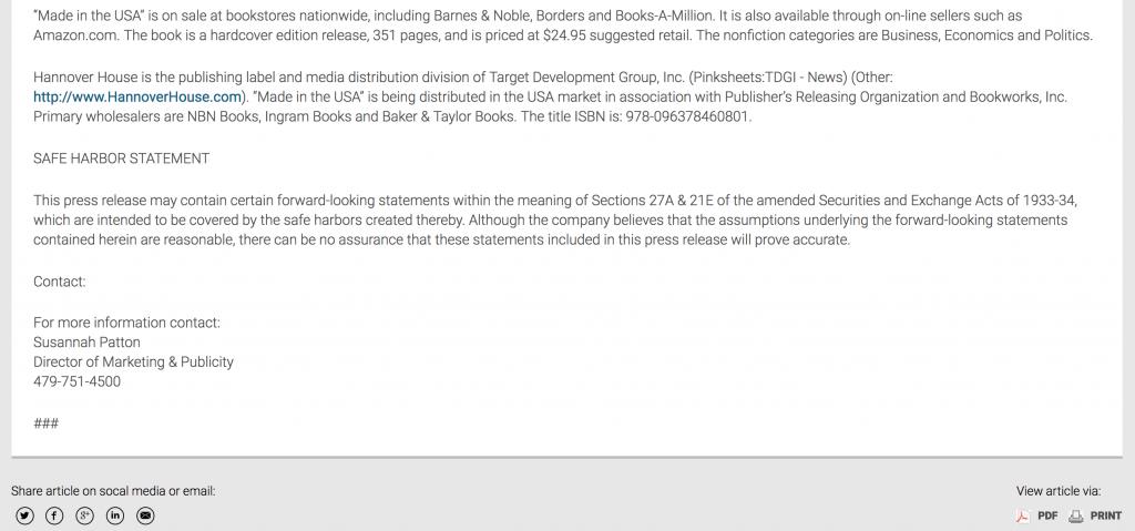 bottom of press release