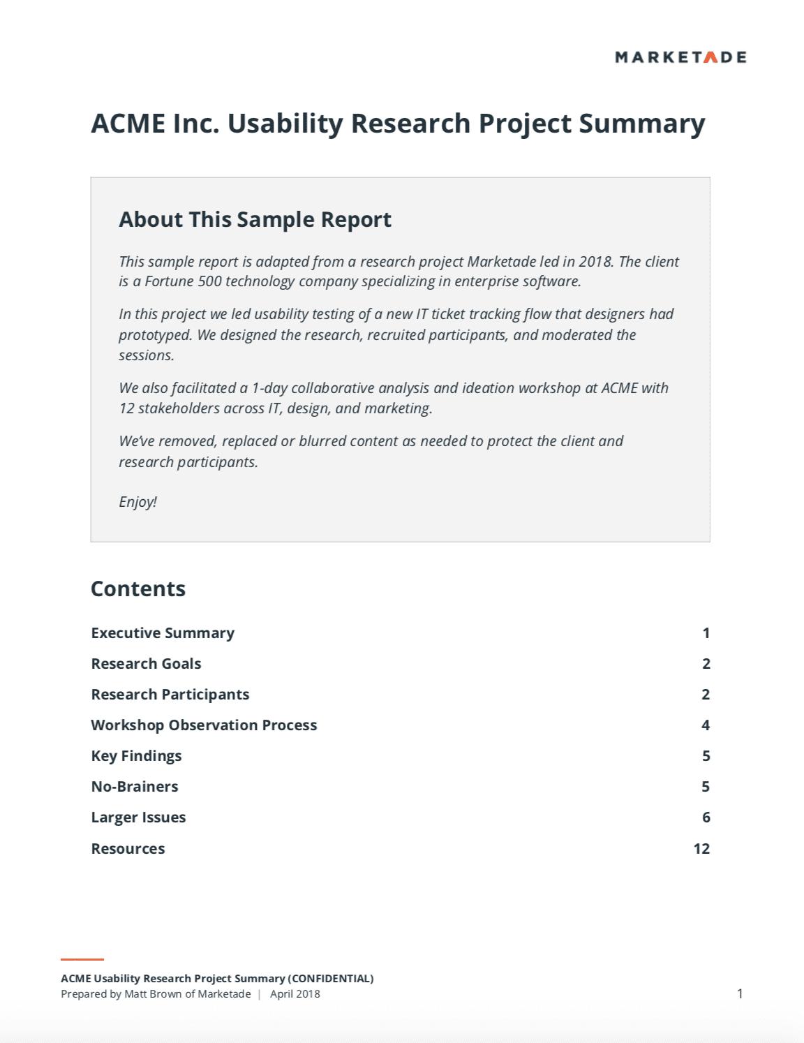 sample ux research report